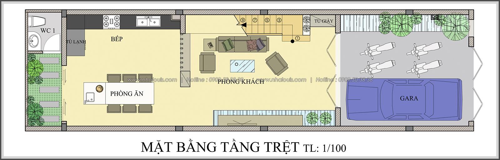Mặt bằng tầng trệt thiết kế nhà ống mặt tiền 5m của chị Linh quận 6 - 3