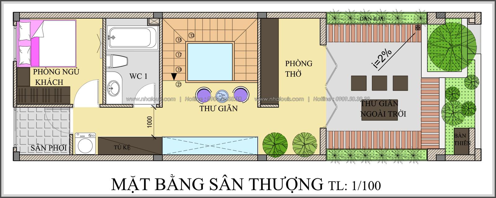 Mặt bằng sân thượng với thiết kế nhà ống mặt tiền 5m của chị Linh quận 6 - 32