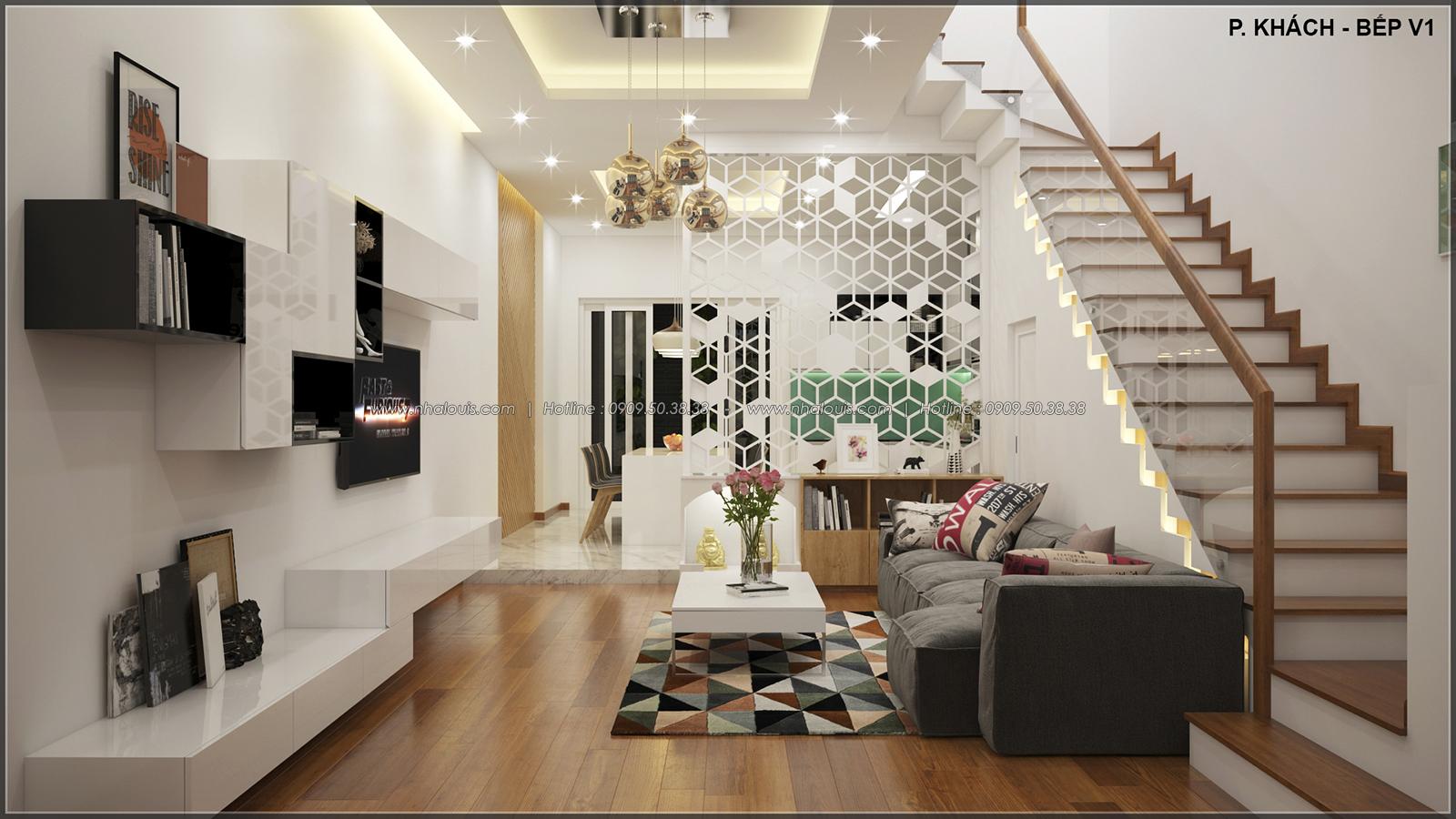 Phòng khách thiết kế nhà ống mặt tiền 5m của chị Linh quận 6 - 5