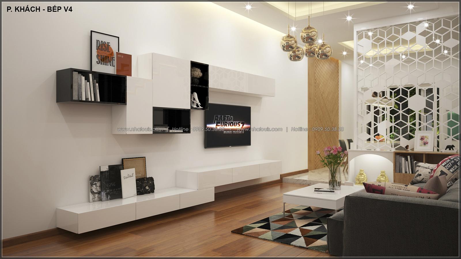 Phòng khách thiết kế nhà ống mặt tiền 5m của chị Linh quận 6 - 8