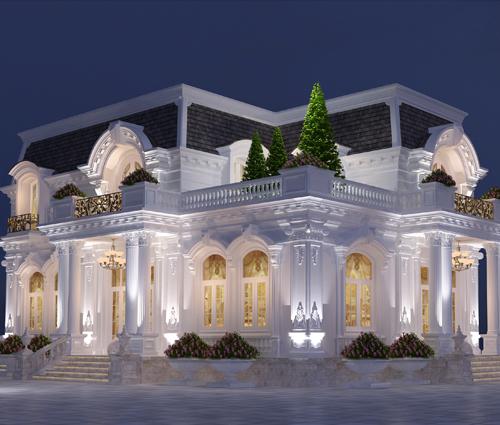 Thiết kế biệt thự 2 tầng kiểu Pháp đẹp sang trọng tại Bình Dương