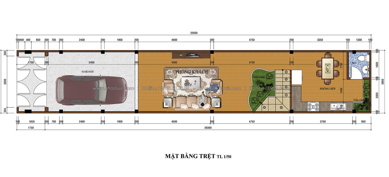 Mặt bằng tầng trệt thiết kế nhà ống 3 tầng 5x20 tại Tân Bình - 2
