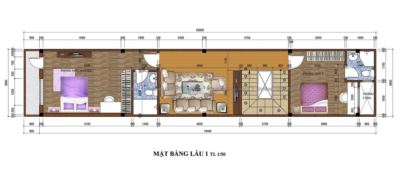 Mặt bằng lầu 1 thiết kế nhà ống 3 tầng 5x20 tại Tân Bình - 3