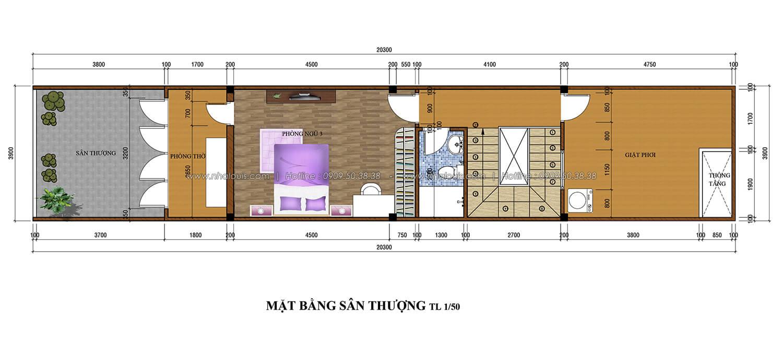 Mặt bằng sân thượng thiết kế nhà ống 3 tầng 5x20 tại Tân Bình - 4