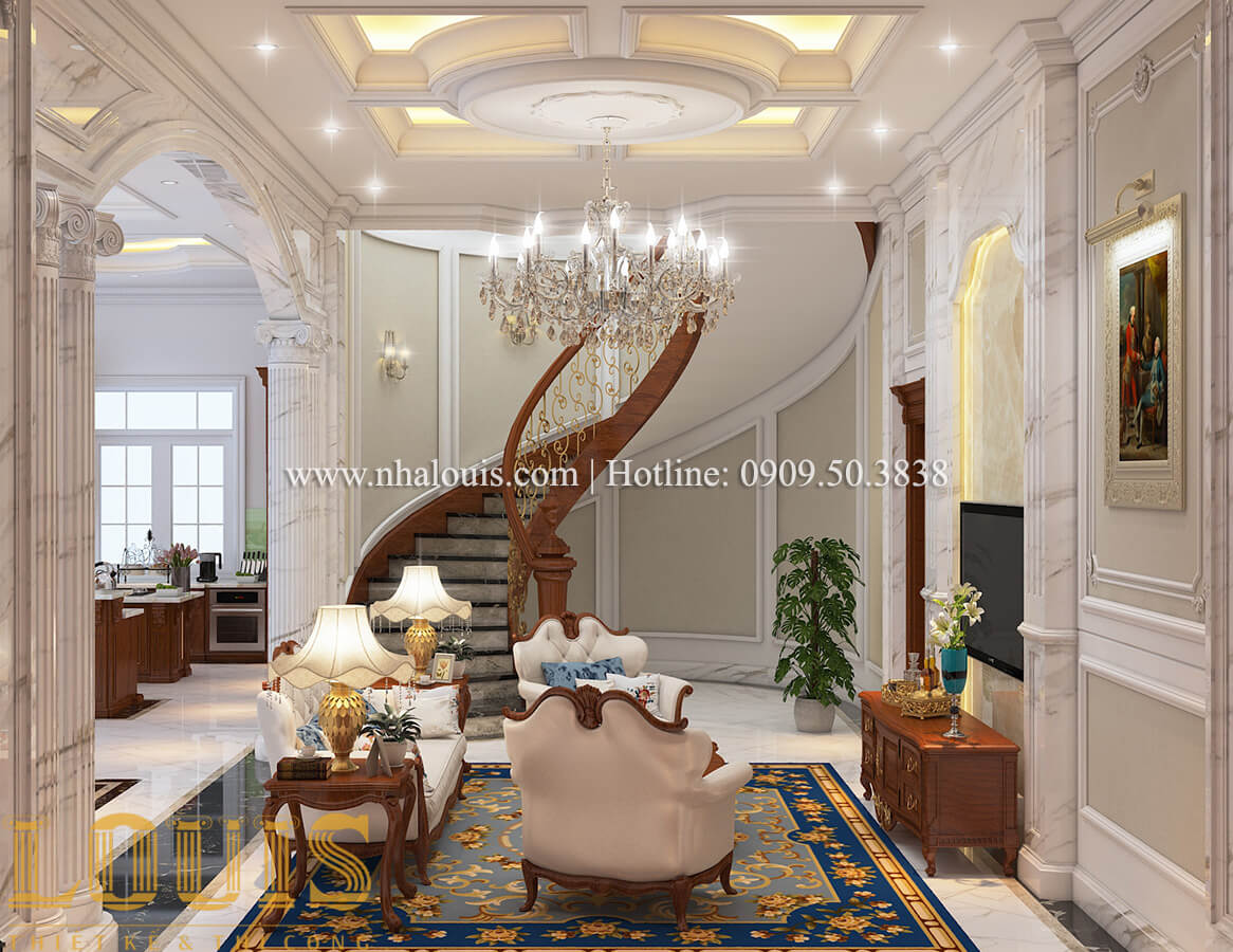 Phòng khách Thiết kế mẫu biệt thự 3 tầng kiểu Pháp tại Bình Dương