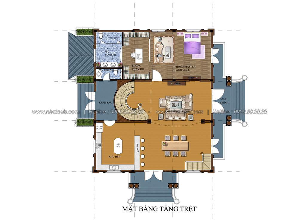 Mặt bằng tầng trệt Thiết kế biệt thự có tầng hầm 2 tầng kiểu Pháp tại Bình Dương - 5
