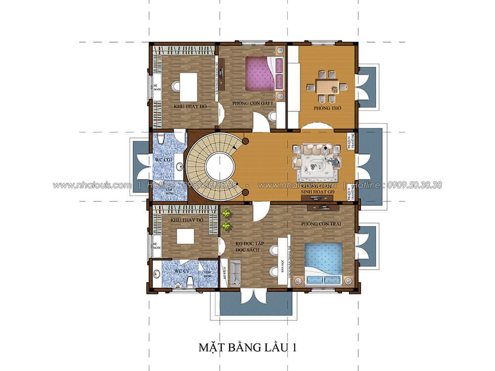 Mặt bằng lầu 1 Thiết kế biệt thự có tầng hầm 2 tầng kiểu Pháp tại Bình Dương - 4