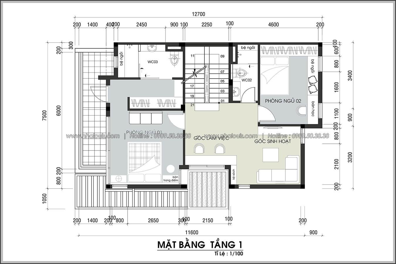 Mặt bằng tầng 1 Thiết kế nội thất biệt thự hiện đại đẹp tại dự án Lucasta Villa đẳng cấp - 18
