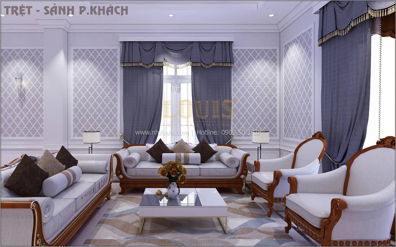 Phòng khách Thiết kế biệt thự tân cổ điển 3 tầngcó gara ô tô tại Tân Phú