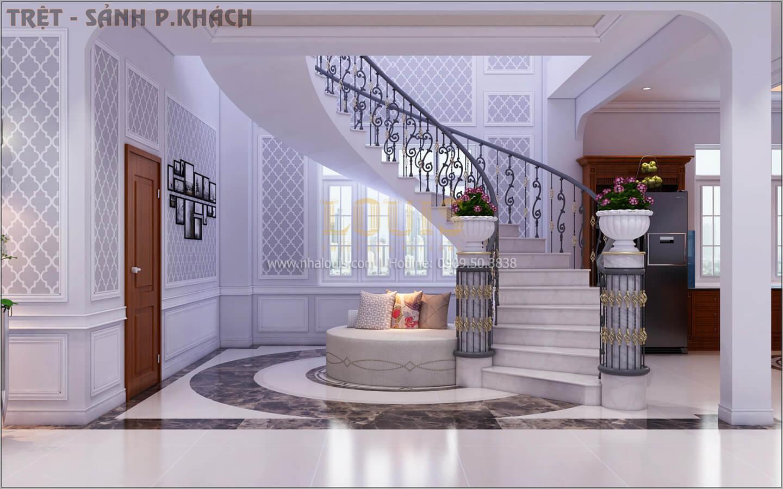 Cầu thang Thiết kế biệt thự tân cổ điển 3 tầngcó gara ô tô tại Tân Phú