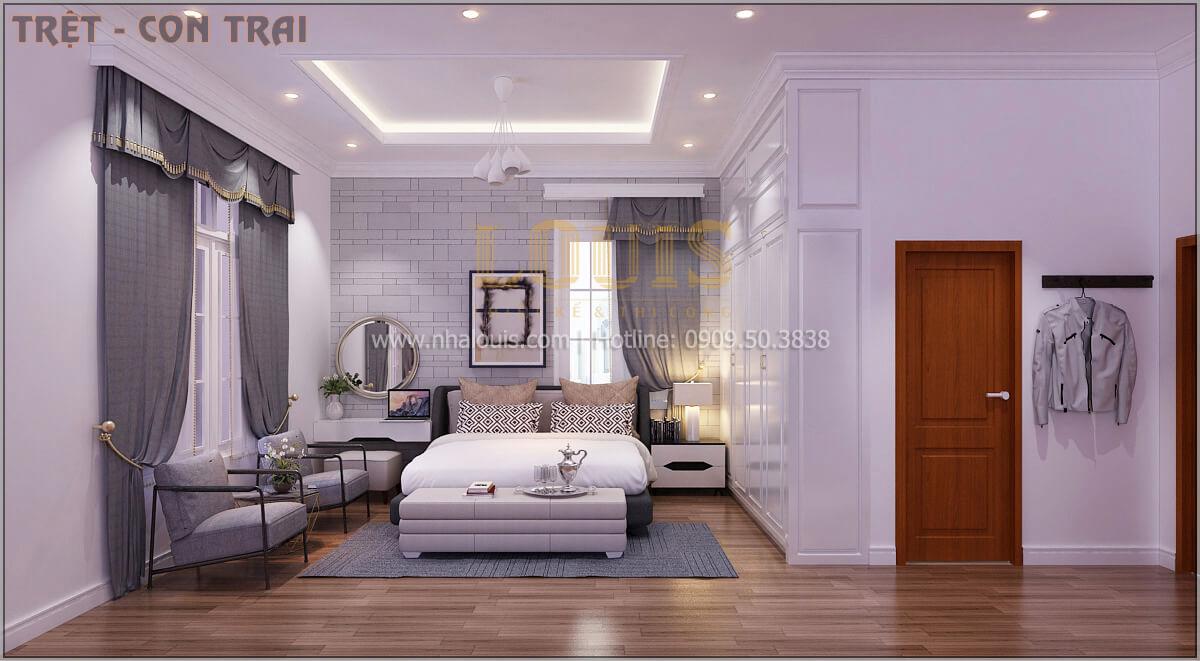 Phòng ngủ Thiết kế biệt thự tân cổ điển 3 tầngcó gara ô tô tại Tân Phú