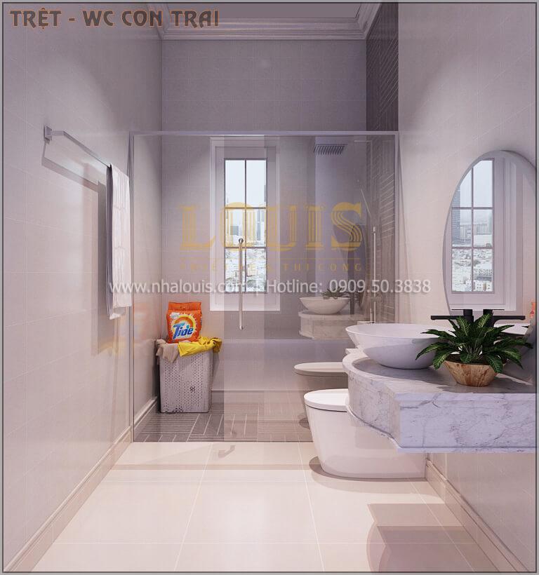 Phòng tắm và WC Thiết kế biệt thự tân cổ điển 3 tầngcó gara ô tô tại Tân Phú