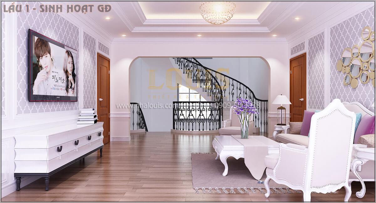 Phòng sinh hoạt chung Thiết kế biệt thự tân cổ điển 3 tầngcó gara ô tô tại Tân Phú
