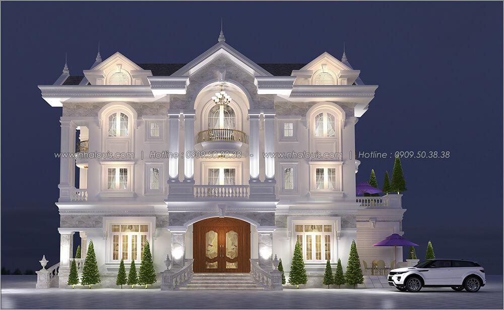 Mặt tiền thiết kế biệt thự cổ điển 3 tầng có gara ô tô tại Tân Phú - 01