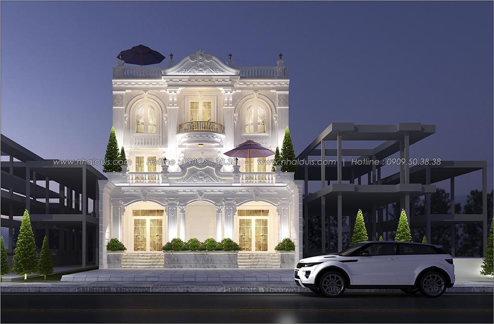 Mặt tiền Thiết kế biệt thự cổ điển 3 tầng vừa ở vừa kinh doanh tại Đồng Nai - 1