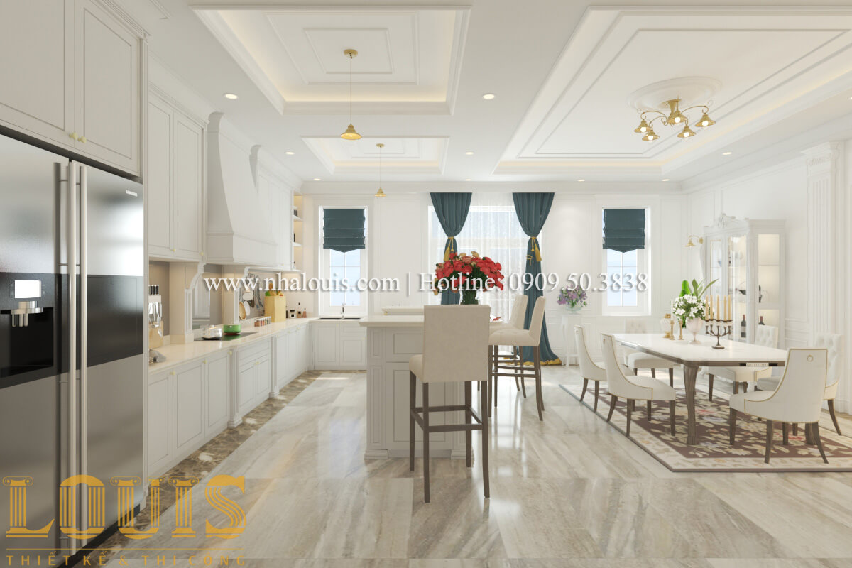 Phòng bếp và phòng ăn Mẫu biệt thự đẹp 3 tầng vừa ở vừa kinh doanh tại Đồng Nai