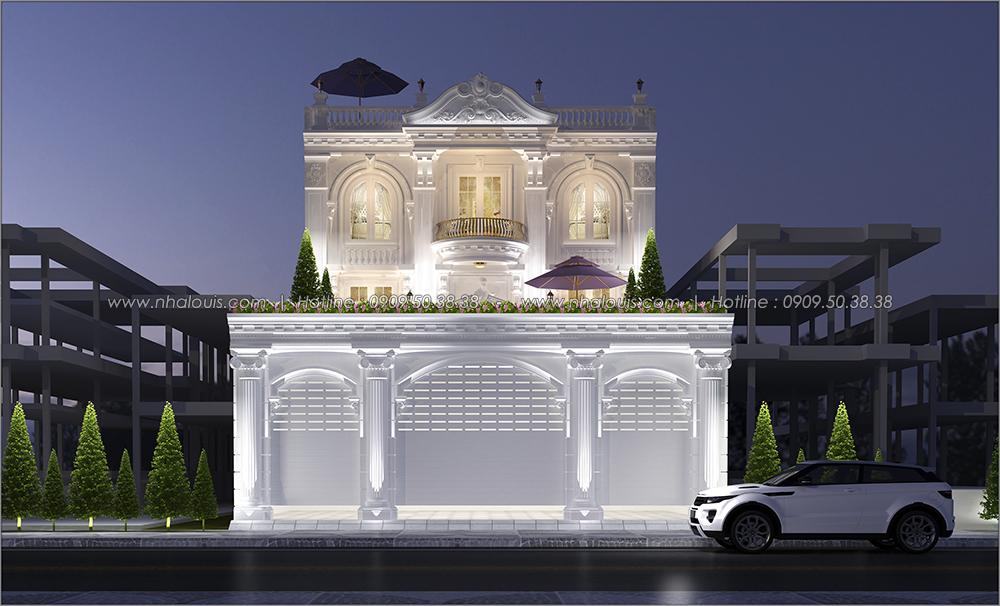 Mặt tiền Thiết kế biệt thự cổ điển 3 tầng vừa ở vừa kinh doanh tại Đồng Nai - 2