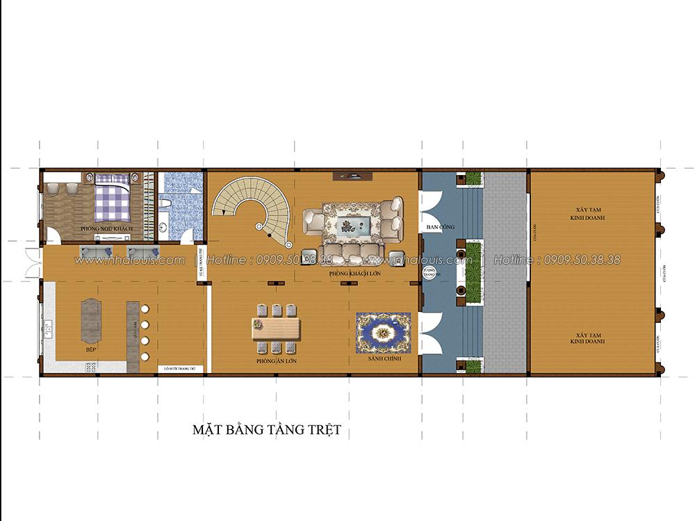 Mặt bằng tầng trệt Thiết kế biệt thự cổ điển 3 tầng vừa ở vừa kinh doanh tại Đồng Nai - 3