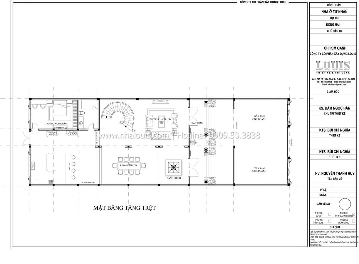 Mặt bằng tầng trệt Thiết kế mẫu biệt thự đẹp 3 tầng vừa ở vừa kinh doanh tại Đồng Nai - 32