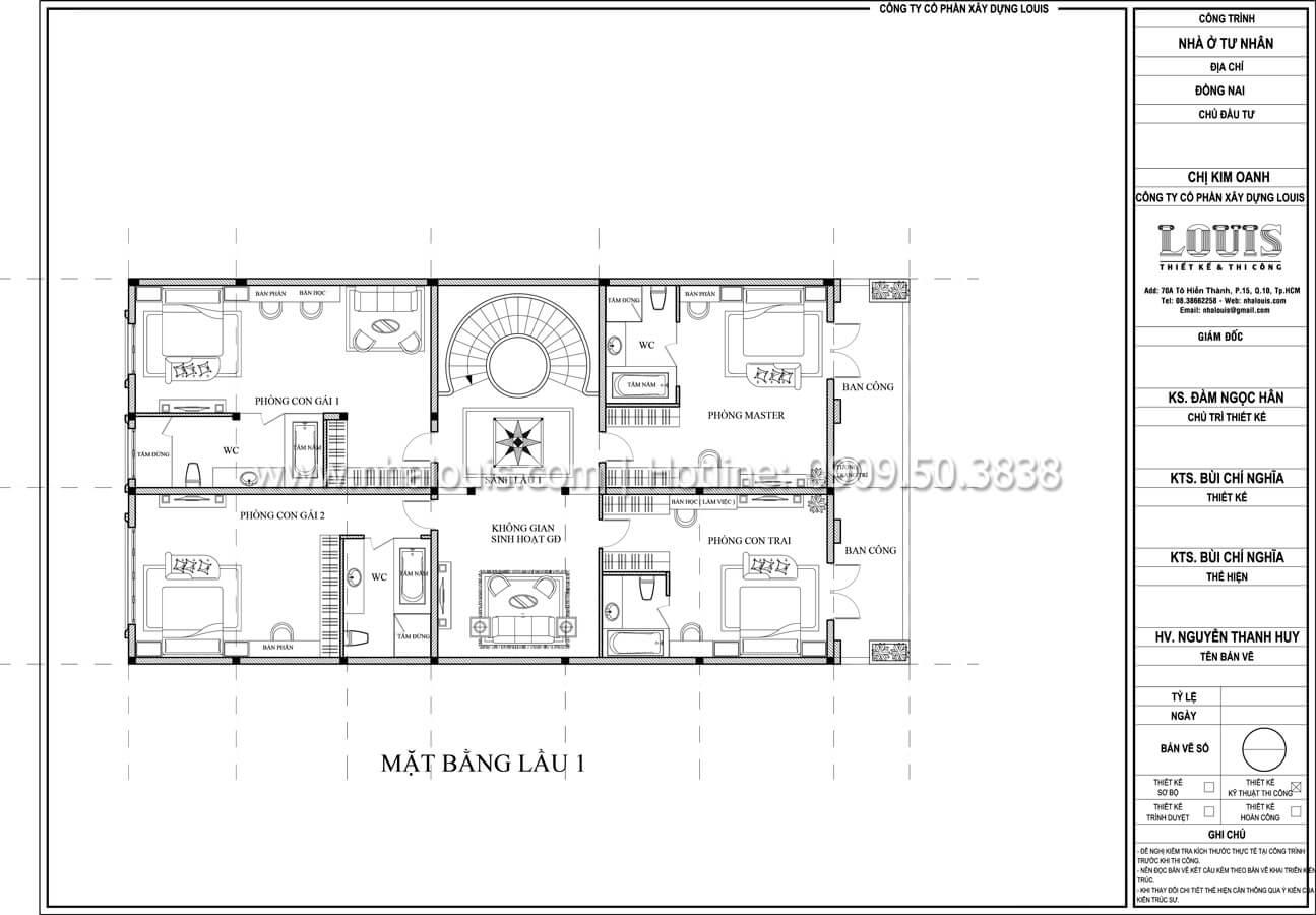 Mặt bằng tầng 1 Thiết kế mẫu biệt thự đẹp 3 tầng vừa ở vừa kinh doanh tại Đồng Nai - 33
