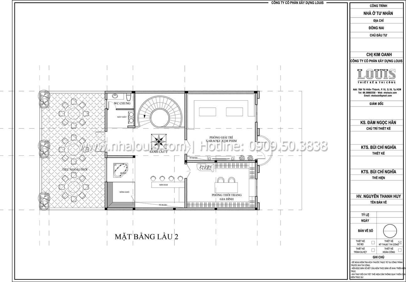 Mặt bằng tầng 2 Thiết kế mẫu biệt thự đẹp 3 tầng vừa ở vừa kinh doanh tại Đồng Nai - 34