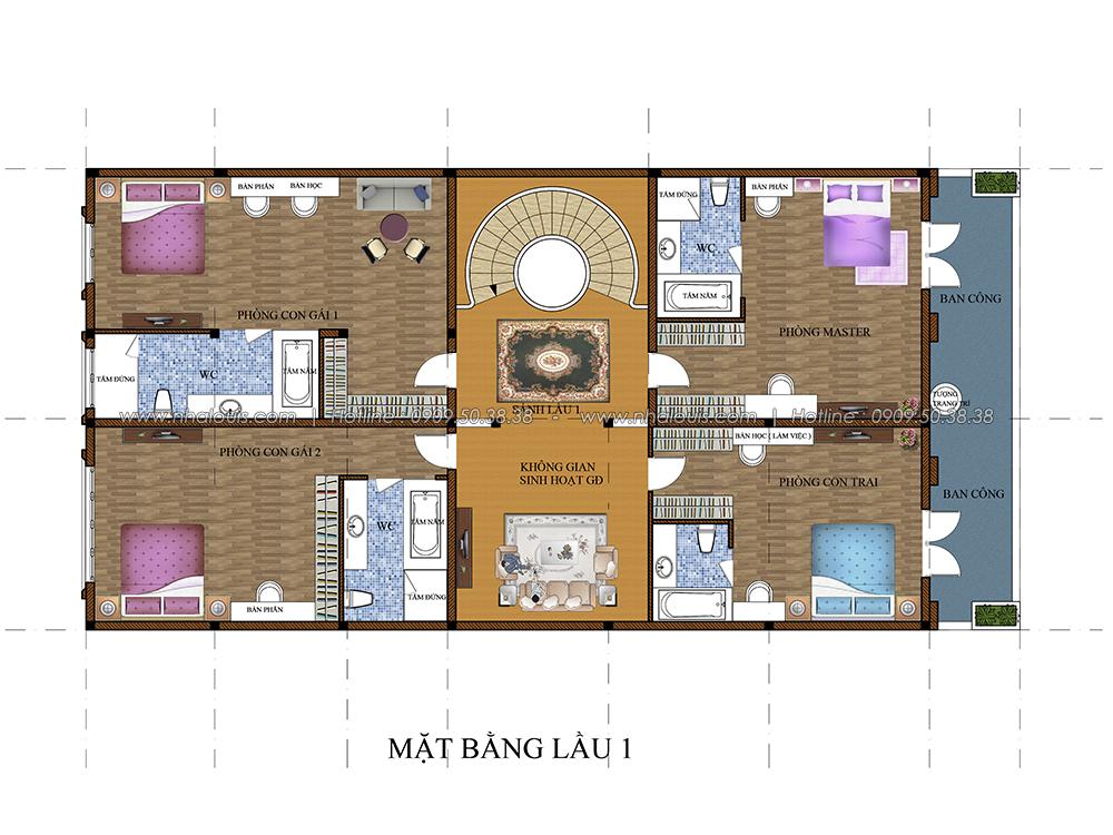Mặt bằng lầu 1 Thiết kế biệt thự cổ điển 3 tầng vừa ở vừa kinh doanh tại Đồng Nai - 4