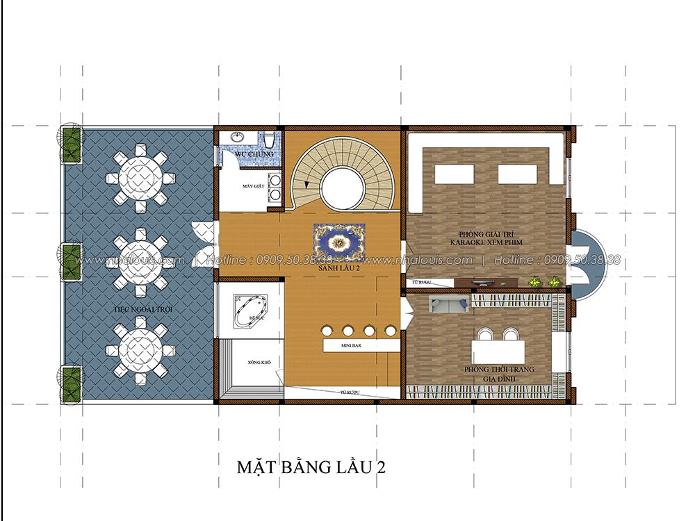 Mặt bằng lầu 2 Thiết kế biệt thự cổ điển 3 tầng vừa ở vừa kinh doanh tại Đồng Nai - 5
