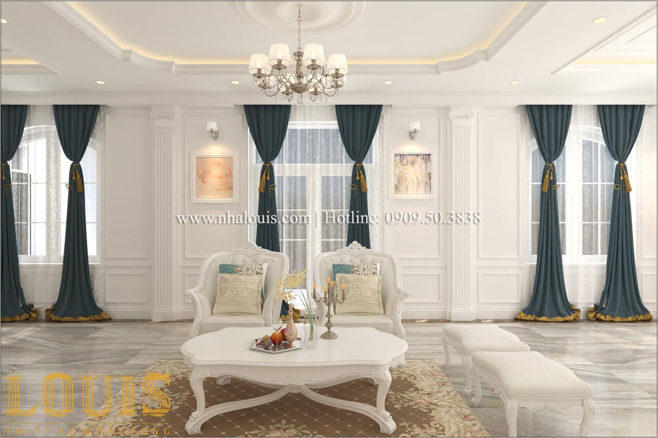 Phòng khách Mẫu biệt thự đẹp 3 tầng vừa ở vừa kinh doanh tại Đồng Nai