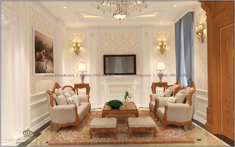 Phòng khách Thiết kế biệt thự cổ điển Châu Âu 2 mặt tiền đẹp lộng lẫy tại Sóc Trăng - 07