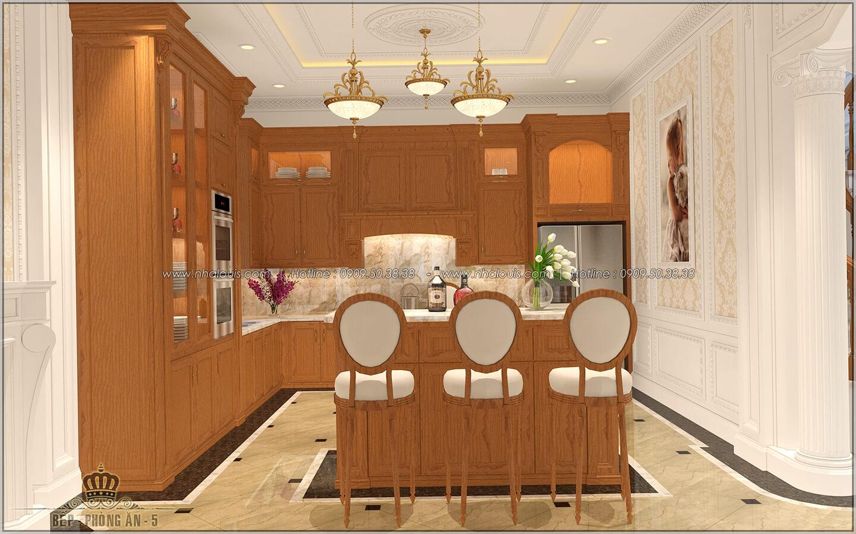 Phòng bếp Thiết kế biệt thự cổ điển Châu Âu 2 mặt tiền đẹp lộng lẫy tại Sóc Trăng - 12