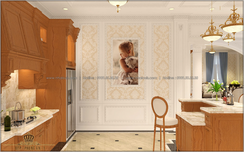 Phòng bếp Thiết kế biệt thự cổ điển Châu Âu 2 mặt tiền đẹp lộng lẫy tại Sóc Trăng - 17