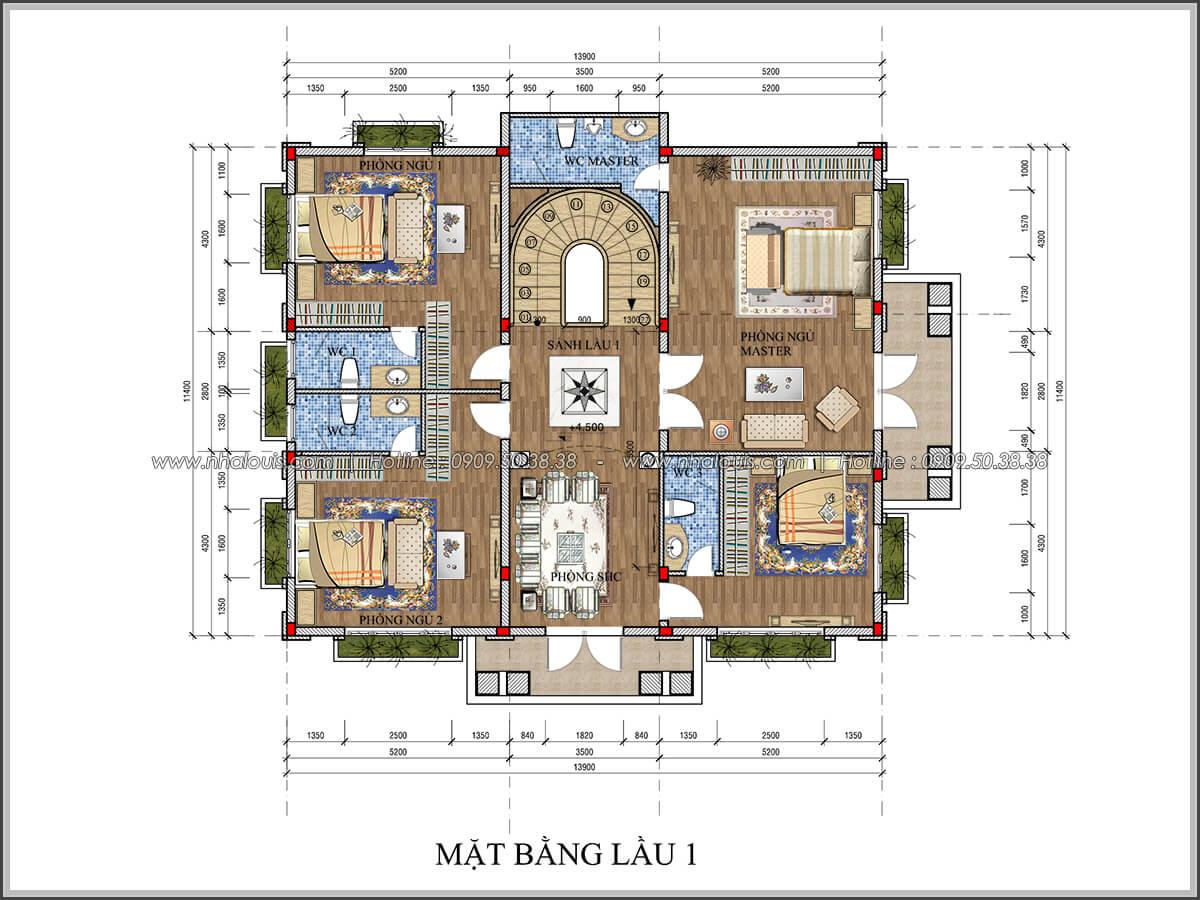 Mặt bằng lầu 1 Thiết kế biệt thự cổ điển Châu Âu 2 mặt tiền đẹp lộng lẫy tại Sóc Trăng - 18
