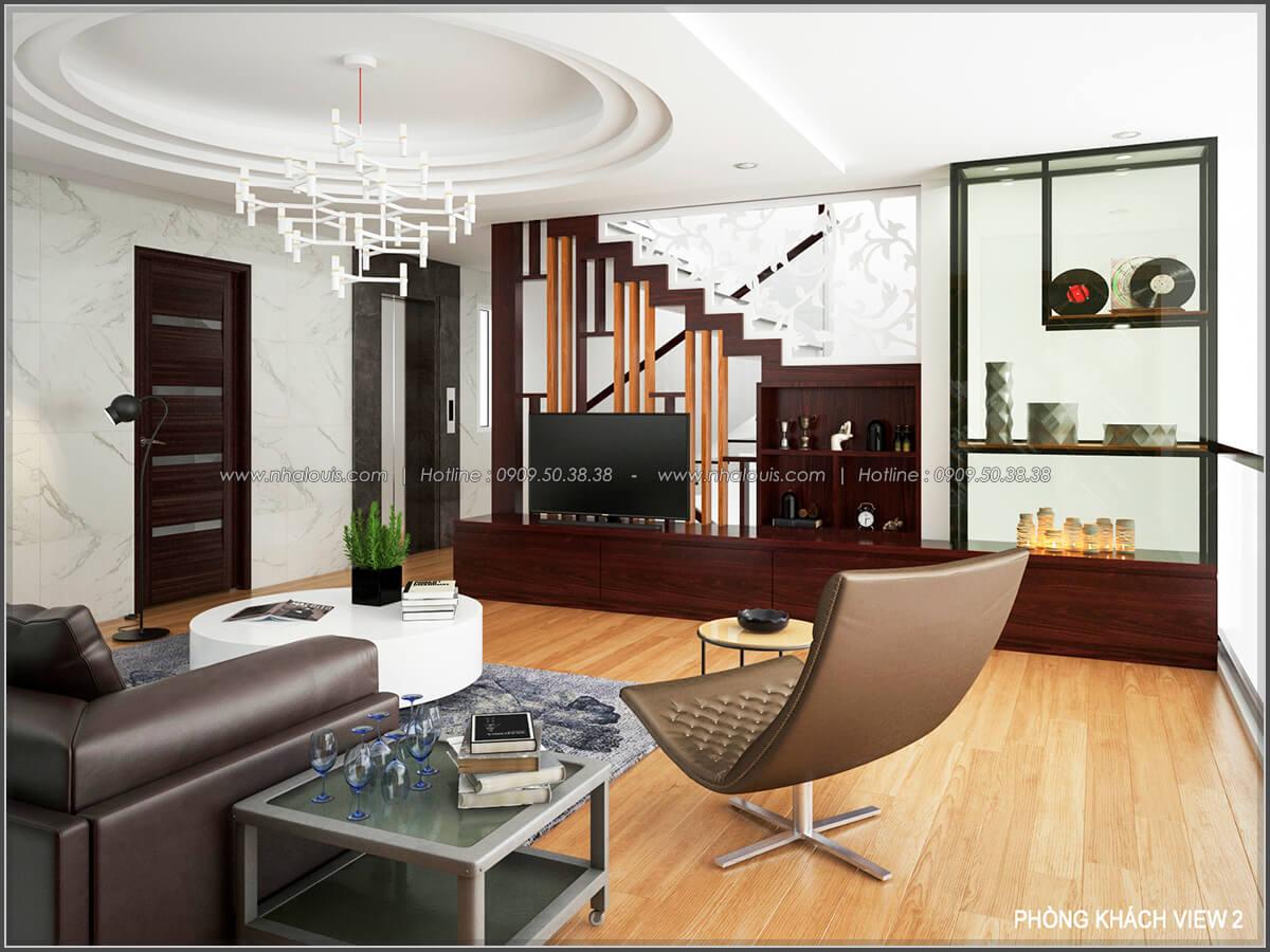 Phòng khách Thiết kế biệt thự có hồ bơi trong nhà ấn tượng tại quận Tân Bình - 10