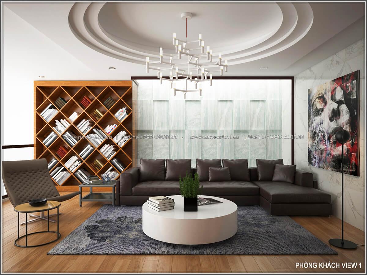 Phòng khách Thiết kế biệt thự có hồ bơi trong nhà ấn tượng tại quận Tân Bình - 11