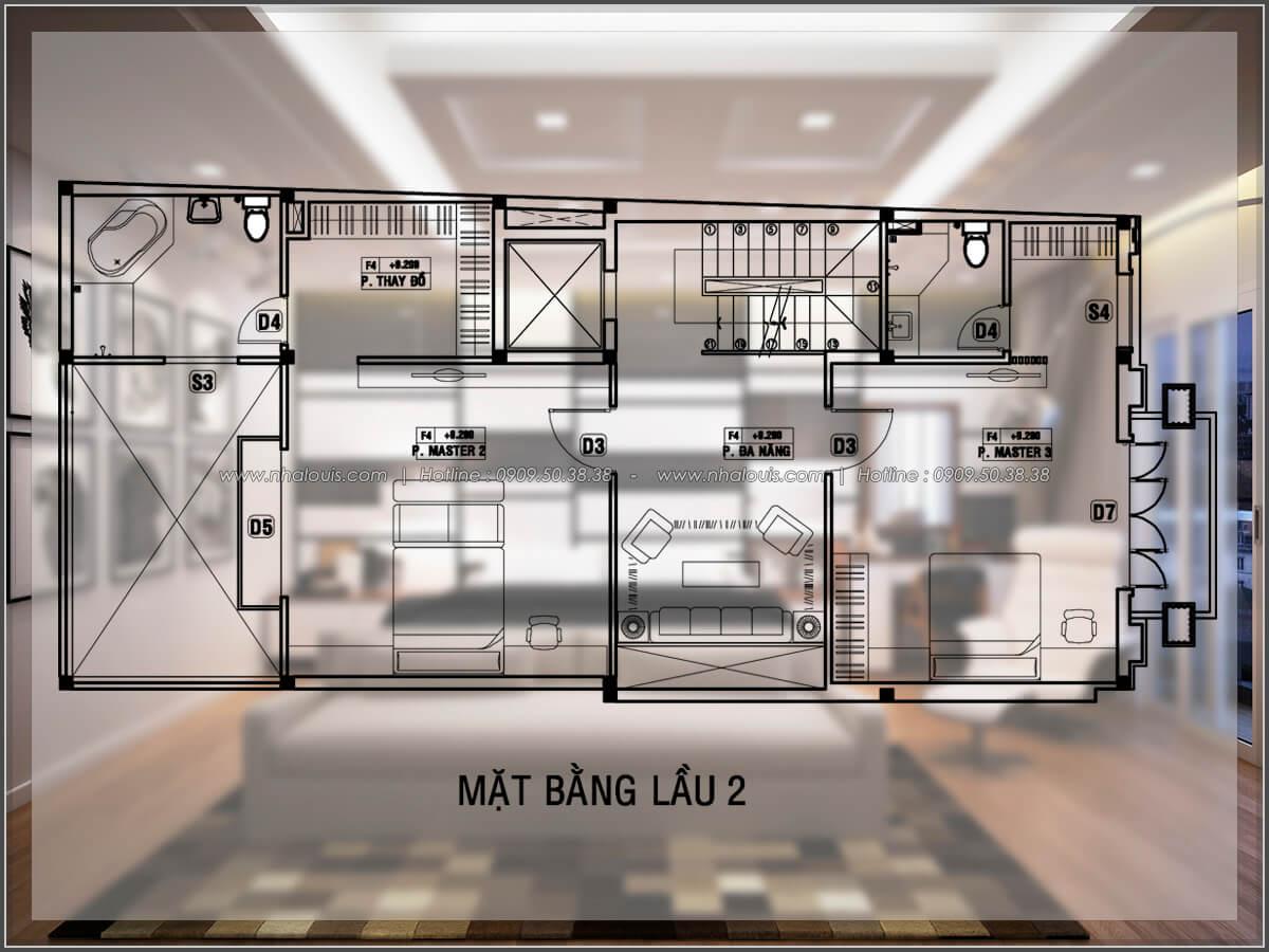 Mặt bằng lầu 2 Thiết kế biệt thự có hồ bơi trong nhà ấn tượng tại quận Tân Bình - 21