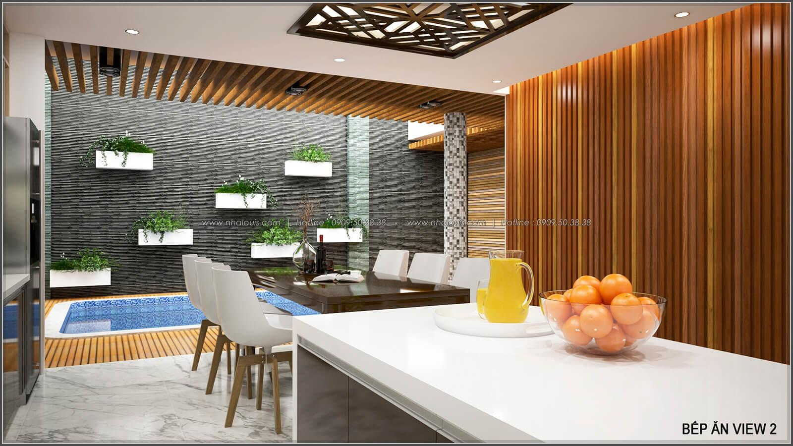 Phòng bếp và phòng ăn Thiết kế biệt thự có hồ bơi trong nhà ấn tượng tại quận Tân Bình - 7