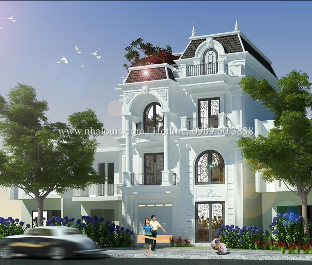 Thiết kế biệt thự 4 phòng ngủ tại Đồng Nai nổi bật trên đường phố tấp nập