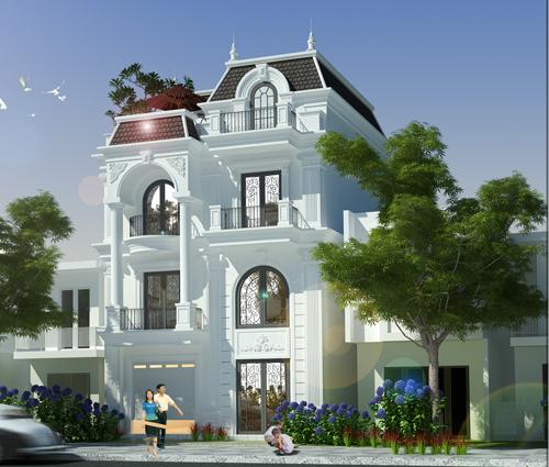 Thiết kế biệt thự tân cổ điển tại Đồng Nai nổi bật trên đường phố tấp nập