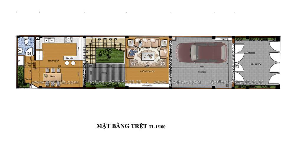 Mặt bằng tầng trệt Thiết kế cải tạo nhà cũ thành mới đẹp hiện đại tại Bình Chánh - 3