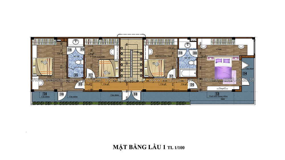 Mặt bằng lầu 1 Thiết kế cải tạo nhà cũ thành mới đẹp hiện đại tại Bình Chánh - 4