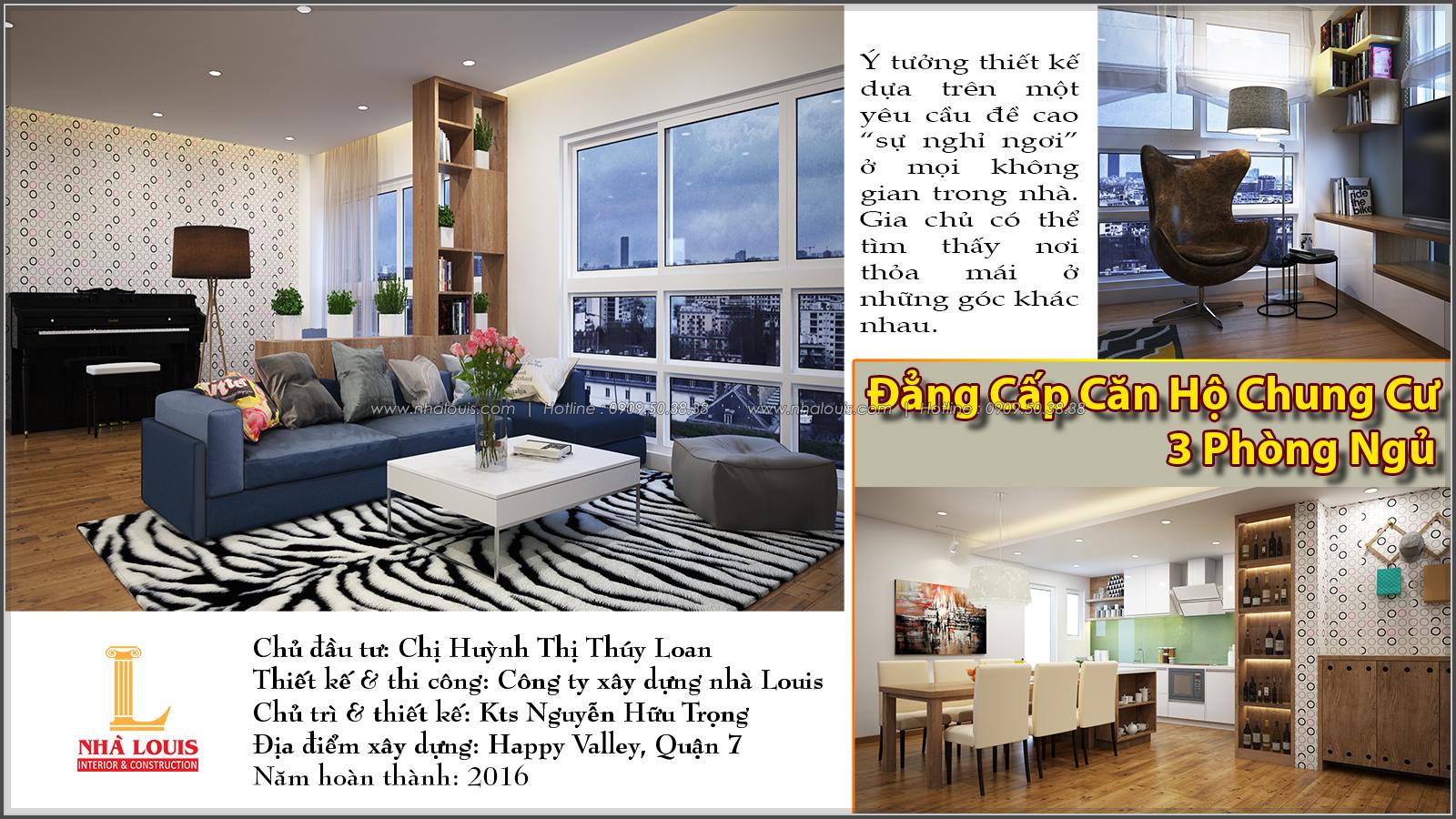 Thiết kế căn hộ chung cư 3 phòng ngủ Happy Valley quận 7 - 1