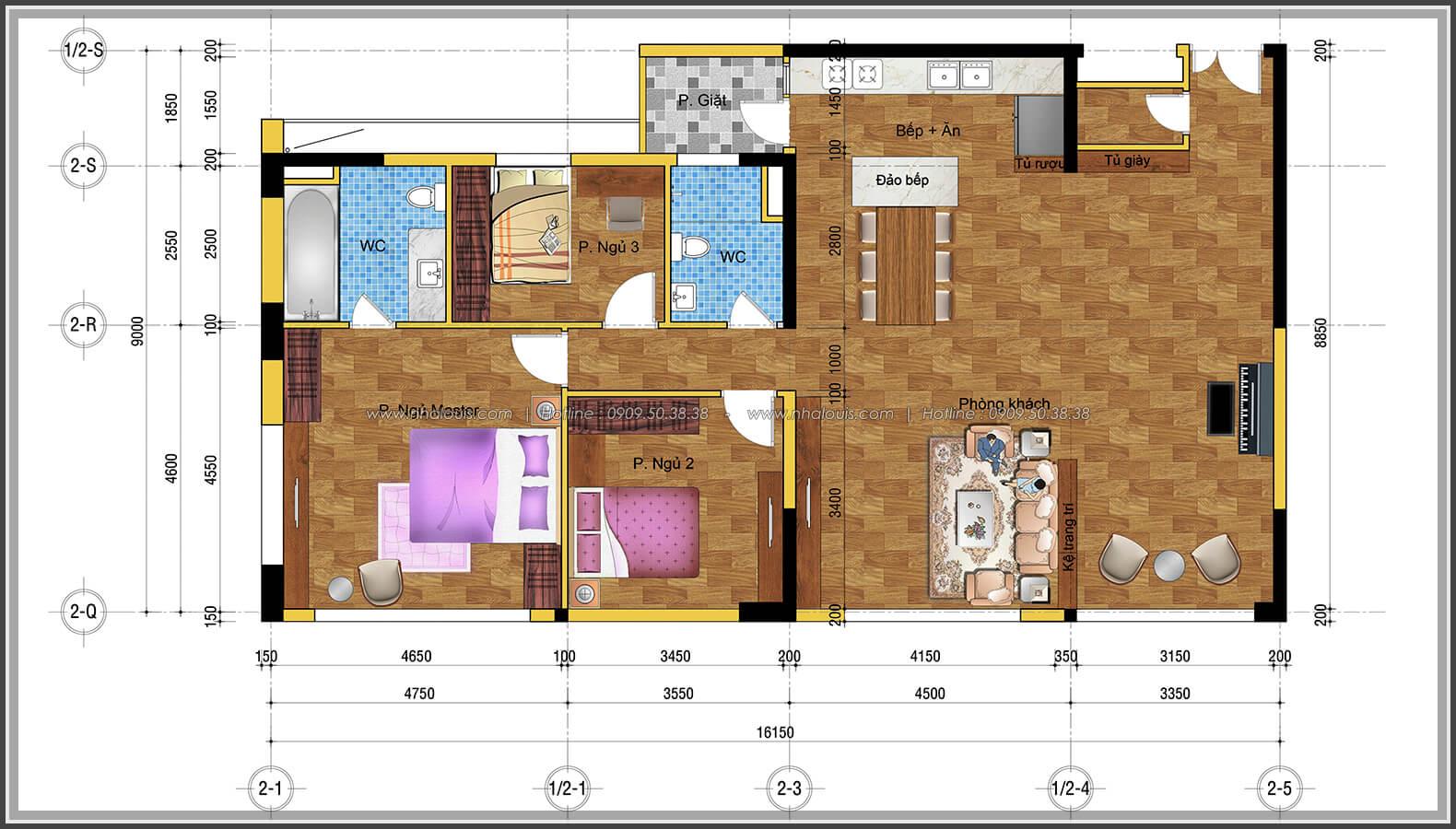 Mặt bằng tổng thể Thiết kế căn hộ chung cư 3 phòng ngủ Happy Valley quận 7 - 2