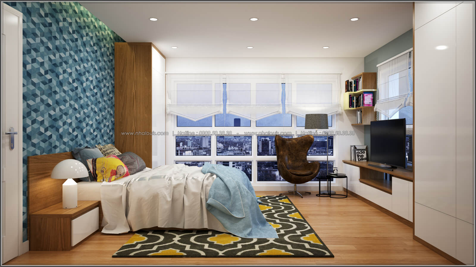Phòng ngủ Thiết kế căn hộ chung cư 3 phòng ngủ Happy Valley quận 7 - 9