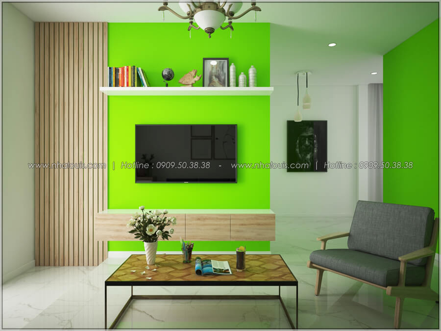Phòng khách Thiết kế nhà cấp 4 đẹp mang phong cách hiện đại ở vùng quê Long An - 05