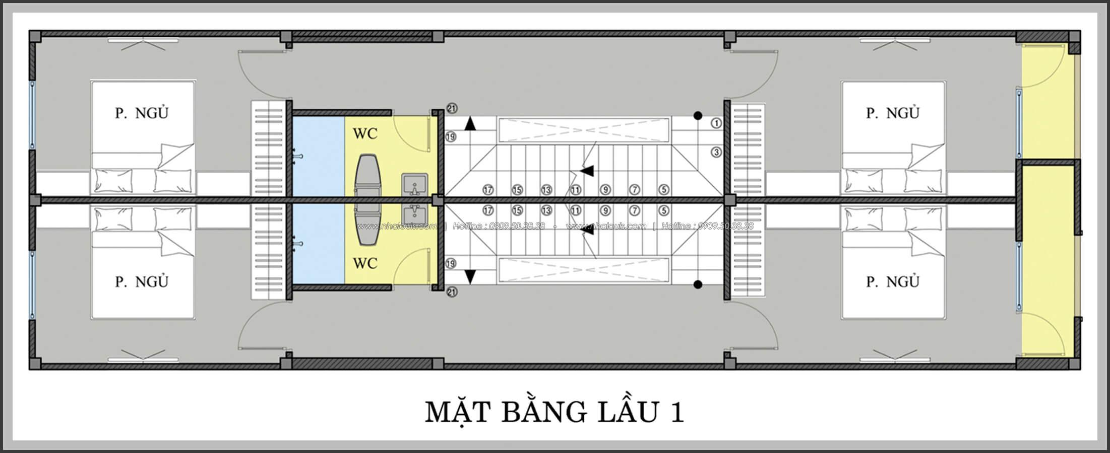 Mặt bằng lầu 1 Thiết kế nhà mặt tiền 6m tại Quận Bình Tân - 11