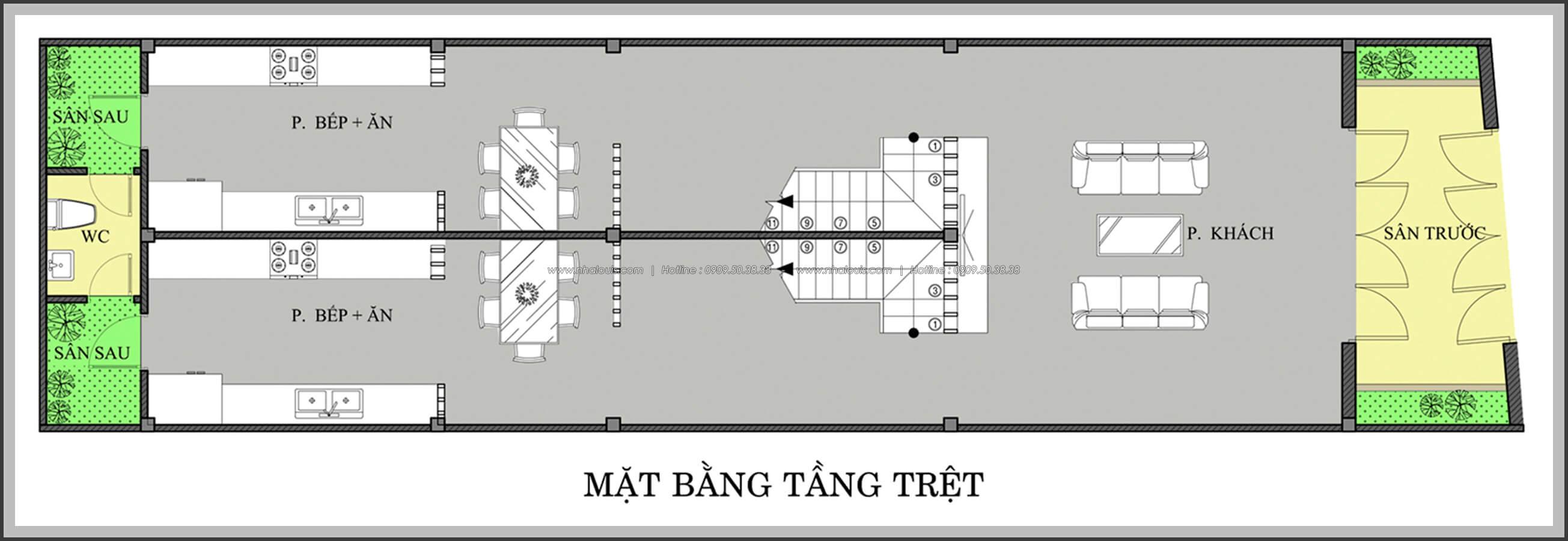 Mặt bằng tầng trệt Thiết kế nhà mặt tiền 6m tại Quận Bình Tân - 3