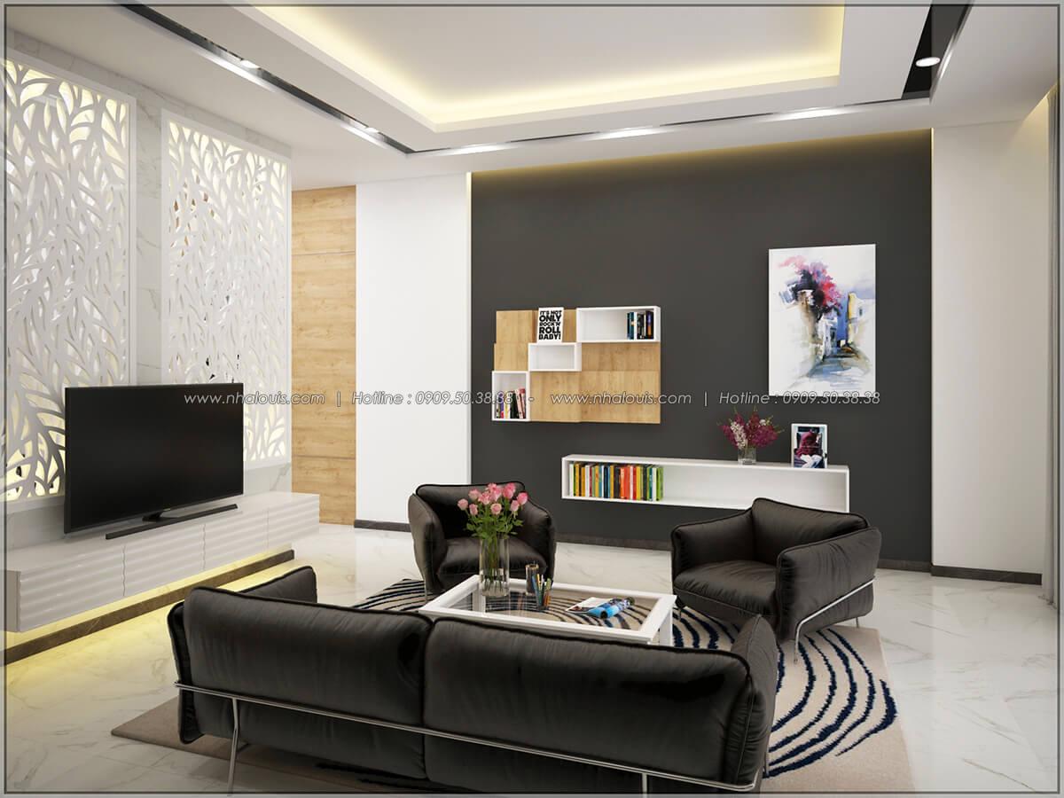 Phòng khách Thiết kế nhà mặt tiền 6m tại Quận Bình Tân - 4