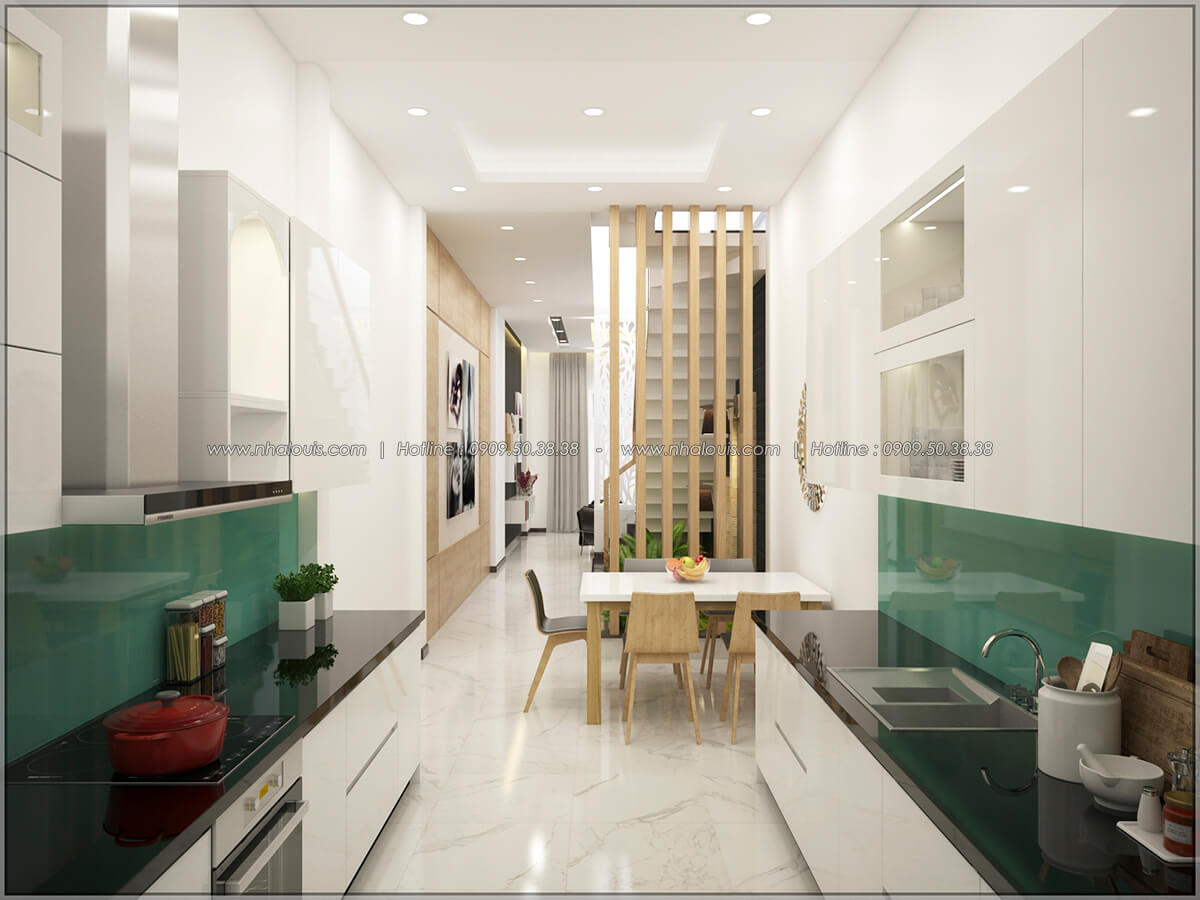 Phòng bếp Thiết kế nhà mặt tiền 6m tại Quận Bình Tân - 9