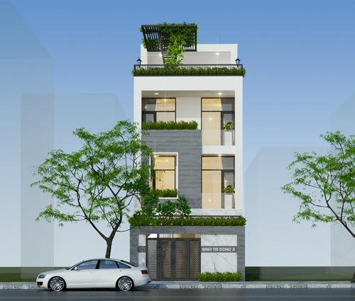 Thiết kế nhà đẹp 3 tầng mặt tiền 6m tại Quận Bình Tân