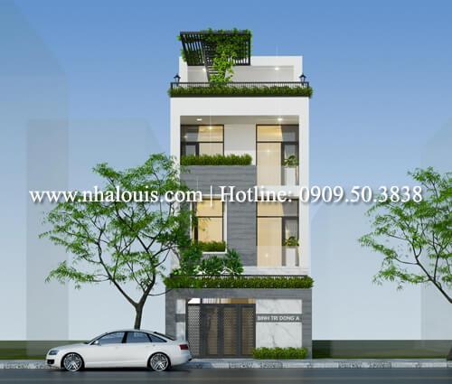 Thiết kế nhà mặt tiền 6m 3 tầng hiện đại tại Quận Bình Tân